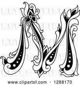 August 14th, 2018: Vector Clip Art of Retro Floral Capital Letter M by Vector Tradition SM
