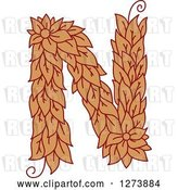 Vector Clip Art of Retro Floral Capital Letter N with a Flower by Vector Tradition SM