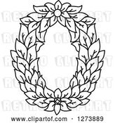 Vector Clip Art of Retro Floral Capital Letter O with a Flower by Vector Tradition SM
