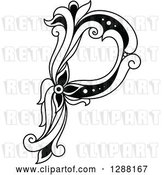 Vector Clip Art of Retro Floral Capital Letter P by Vector Tradition SM