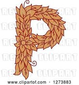 Vector Clip Art of Retro Floral Capital Letter P with a Flower by Vector Tradition SM