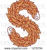 Vector Clip Art of Retro Floral Capital Letter S with a Flower by Vector Tradition SM
