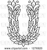 Vector Clip Art of Retro Floral Capital Letter U with a Flower by Vector Tradition SM