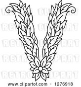 Vector Clip Art of Retro Floral Capital Letter V with a Flower by Vector Tradition SM