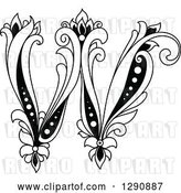 Vector Clip Art of Retro Floral Capital Letter W by Vector Tradition SM