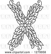 Vector Clip Art of Retro Floral Capital Letter X with a Flower by Vector Tradition SM