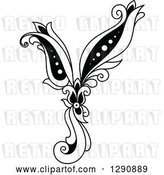 Vector Clip Art of Retro Floral Capital Letter Y by Vector Tradition SM