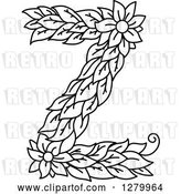 Vector Clip Art of Retro Floral Capital Letter Z with a Flower by Vector Tradition SM
