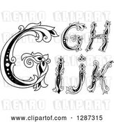 Vector Clip Art of Retro Floral Capital Letters G, H, I, J and K by Vector Tradition SM