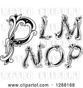Vector Clip Art of Retro Floral Capital Letters L, M, N, O and P by Vector Tradition SM