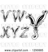 Vector Clip Art of Retro Floral Capital Letters V, W, X, Y and Z by Vector Tradition SM