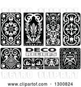 Vector Clip Art of Retro Floral Deco Relief Design Elements by Dero