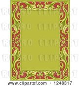 Vector Clip Art of Retro Floral Frame in Green and Red by BNP Design Studio