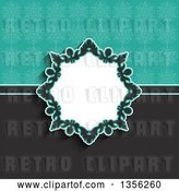 Vector Clip Art of Retro Floral Frame over a Gray and Turquoise Snowflake Background by KJ Pargeter