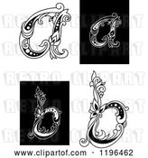 Vector Clip Art of Retro Floral Letter a and B by Vector Tradition SM