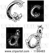 Vector Clip Art of Retro Floral Letter C and D by Vector Tradition SM