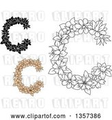 Vector Clip Art of Retro Floral Letter C Designs by Vector Tradition SM