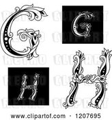 Vector Clip Art of Retro Floral Letter G and H by Vector Tradition SM