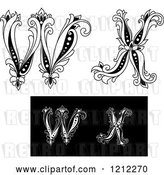 Vector Clip Art of Retro Floral Letter W and X by Vector Tradition SM