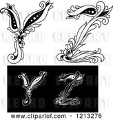 Vector Clip Art of Retro Floral Letter Y and Z by Vector Tradition SM
