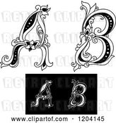 Vector Clip Art of Retro Floral Letters a and B by Vector Tradition SM
