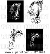 Vector Clip Art of Retro Floral Letters Q and R by Vector Tradition SM