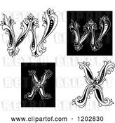 Vector Clip Art of Retro Floral Letters W and X by Vector Tradition SM