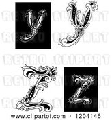 Vector Clip Art of Retro Floral Letters Y and Z by Vector Tradition SM
