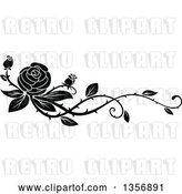 Vector Clip Art of Retro Floral Rose Vine Border Design Element by Vector Tradition SM