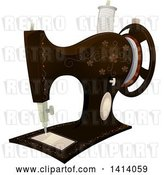 Vector Clip Art of Retro Floral Sewing Machine by BNP Design Studio