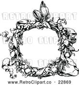 Vector Clip Art of Retro Floral Wreath and Ribbon by Prawny Vintage