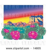 Vector Clip Art of Retro Flowering Cactus Plants in the Grand Canyon Desert by Andy Nortnik