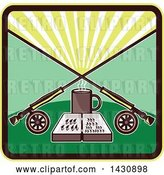 Vector Clip Art of Retro Fly Box and Coffee Mug Under Crossed Fishing Rods in a Sunrise Square by Patrimonio