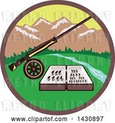 Vector Clip Art of Retro Fly Box and Rod on Wheel in a Circle with a River and Mountains by Patrimonio