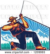 Vector Clip Art of Retro Fly Fisher Man Casting and Reeling over Mountains by Patrimonio