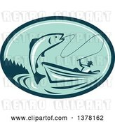 Vector Clip Art of Retro Fly Fisher Man Reeling in a Trout or Salmon Fish from a Boat in a Teal and Green Oval by Patrimonio