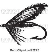 Vector Clip Art of Retro Fly Fishing Hook - 4 by BestVector