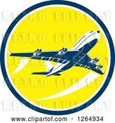 Vector Clip Art of Retro Flying Airplane Inside a Yellow Blue and White Circle by Patrimonio