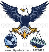 Vector Clip Art of Retro Flying American Bald Eagle Holding a Scale with Earth and Money by Patrimonio