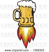 Vector Clip Art of Retro Flying Beer Mug Rocket by Patrimonio