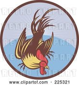 Vector Clip Art of Retro Flying Cock over a Circle Logo by Patrimonio