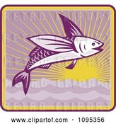 Vector Clip Art of Retro Flying Fish and Sunset by Patrimonio