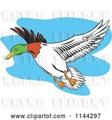 Vector Clip Art of Retro Flying Mallard Duck by Patrimonio