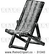 Vector Clip Art of Retro Folding Deck Chair by Prawny Vintage