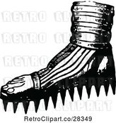 Vector Clip Art of Retro Foot with Spiked Soles by Prawny Vintage