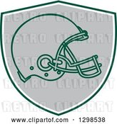 Vector Clip Art of Retro Football Helmet in a Green White and Gray Shield by Patrimonio