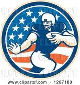 Vector Clip Art of Retro Football Player in an American Flag Circle by Patrimonio