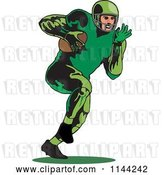 Vector Clip Art of Retro Football Player Running 1 by Patrimonio