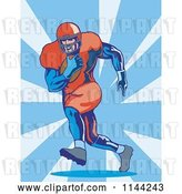 Vector Clip Art of Retro Football Player Running 2 by Patrimonio