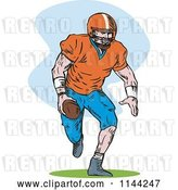 Vector Clip Art of Retro Football Player Running 3 by Patrimonio